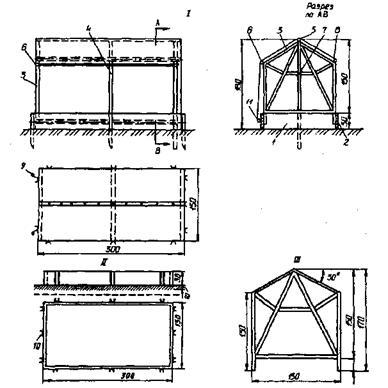 Разборная пленочная теплица конструкции В. С. Карпова